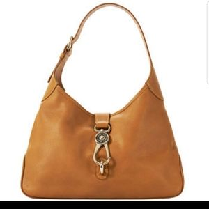 Dooney & Bourke Leather Logo Lock Hobo Bag Natural